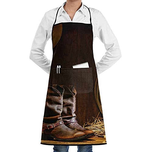 ASNIVI Delantal de cocina,Decoración occidental, botas de roper de trabajo de cuero tradicionales del vaquero americano del rodeo decorativas,Delantales para cocina casera, cocina de restauran