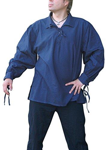 Chemise médiévale avec col coton, bleu - Moyen âge, LARP - Bleu, XL