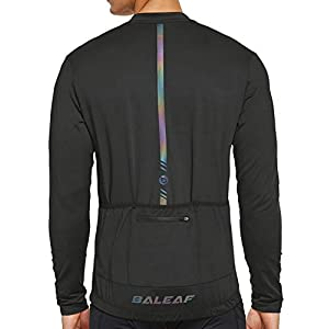 BALEAF Men's Cycling Bike Jersey Long Sleeve Shirt with 4 Rear Pockets Mountain Reflective Quick Dry UPF 50+