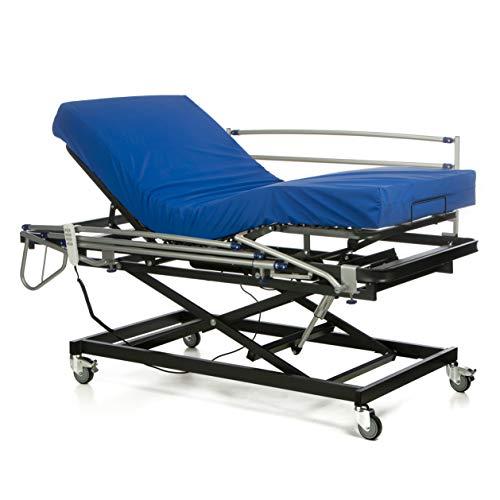 Gerialife Cama articulada geriátrica hospitalaria con Carro Elevador | Colchón Sanitario viscoelástico | Barandillas abatibles (90x190)