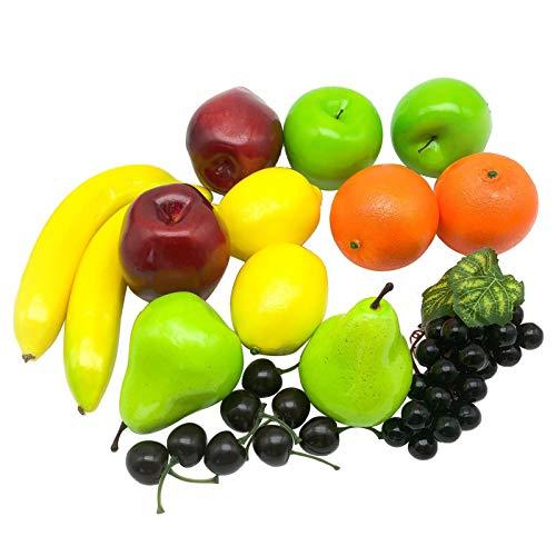 AIVORIUY 21 Piezas Frutas Artificiales Surtidas de Frutas Realistas Frutas Falsas Juego de Frutas de Simulación para la Decoración del Restaurante de la Cocina del Hogar de Fiesta de Navidad