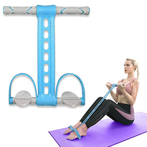 Pedal Resistance Band Elastic Pull Rope Fitness Sit-up Exercise at Home Gym Yoga Workout Equipment Multifunction Pedal Arm Leg Trainer Slimming Bodybuilding Abdominal Training Blue
