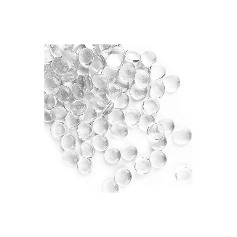 silk flower arrangements cys excel clear gemstone vase fillers (1 lb, approx. 100 pcs) | multiple color choices flat marble bead stones | decorative mosaic glass gem pebbles