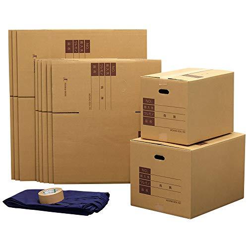 ボックスバンク ダンボール 引っ越しセット 1人用 布団袋付 ●ダンボール箱(大中)10枚、布団袋、クラフトテープ ZH06-0010