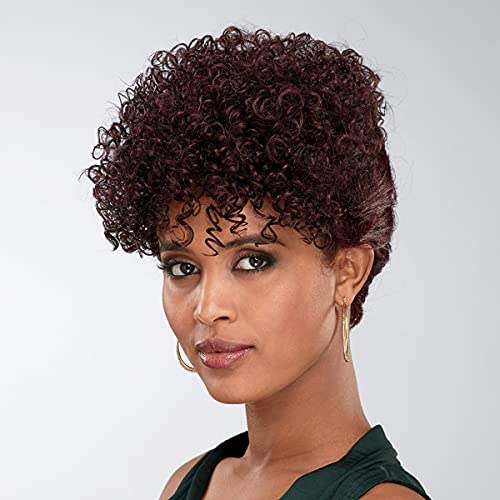 Zala Hand-Braided Wig by Especially Yours – Trendy Updo Wig with Double French Braids, Natural Curly Top / Runway Shades of Black and Dark Wine