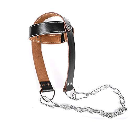 Asolym Entrenador de Cuello de Cuero, Cabeza y Cuello con Cadena Cinturón de Entrenamiento de Potencia de Cuello Ajustable Equipo de Levantamiento de Pesas de Gimnasio, Color Negro