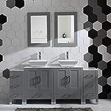 72' Bathroom Vanity Cabinet Double Sink Grey Solid Wood w/Marbel Counter Top