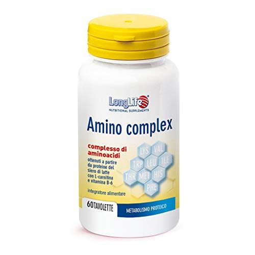 Long Life - Amino Complex con L-carnitina - 60 tavolette | Pool completo di aminoacidi arricchiti con carnitina e vitamina B6