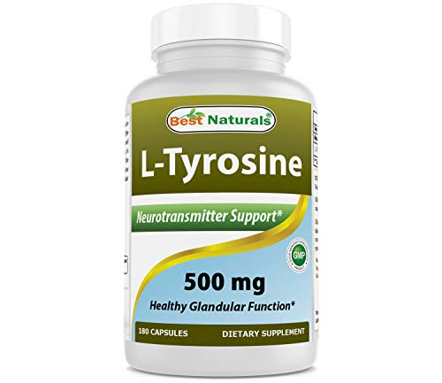 Best Naturals L-Tyrosine 500 Mg 180 Capsules - Supports Mental Alertness, Energy, Focus, Healthy Glandular Function and Balance