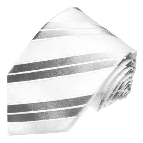 LORENZO CANA - Weiße Marken Krawatte mit silbernen Streifen - Hochzeitskrawatte aus 100% Seide - Original Markenware - 84341