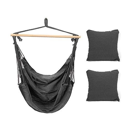 Ouuager-Home Silla Colgante Hamaca Colgante Columpio Incluye amortiguadores Suaves Acampar al Aire Libre Columpio Marco (Color : Black, Size : 100x130cm)