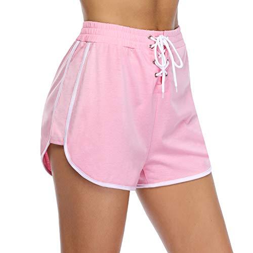 iClosam Pantaloncini Donna Sport Pantaloni Sexy Pigiama Corti Pantaloncini Sportivi Donna Cotone per Palestra Fitness Jogging Yoga Rosa XL