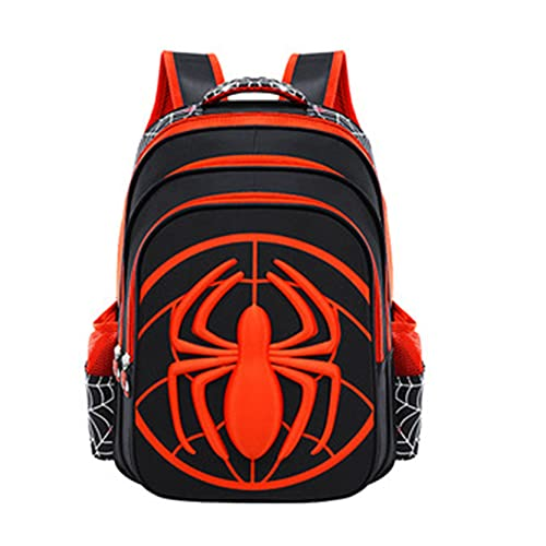 Xyh723 Mochila para Niños Mochilas Escolares De Spiderman Maleta De Vacaciones con Bolsillo Lateral De Malla para Libros con Logotipo De Superhéroe Regalos De Cumpleaños,Black-L