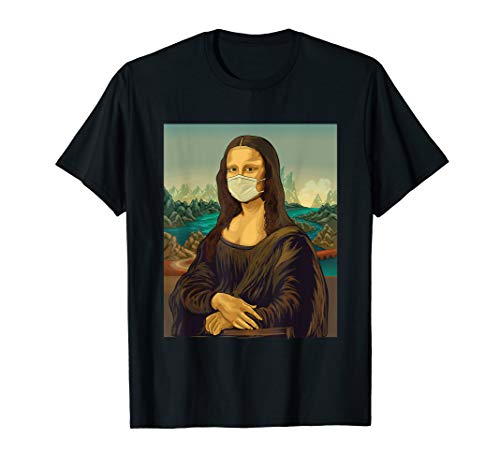 Mona Lisa mit Mundschutz - Leonardo Da Vinci Gesichtsmaske T-Shirt