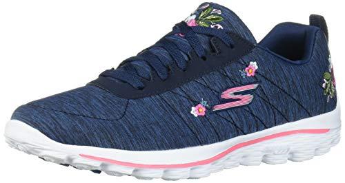 Skechers Women's Go Walk Sport Relaxed Fit Golf Shoe, Navy/White Bloom, 9 M US