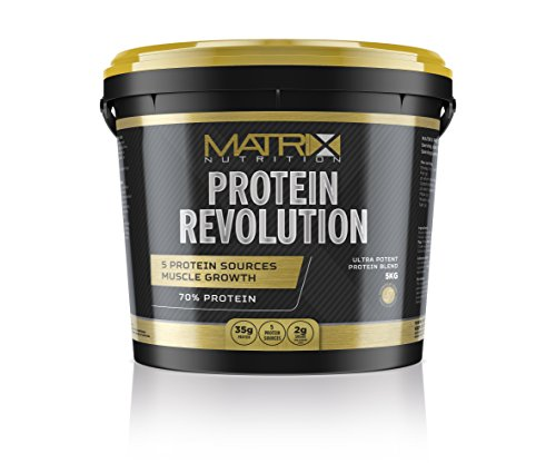 Matrix Nutrition Protein Revolution Powder Supplement 5 Protein Source Low Sugar Low Fat Recovery Shake Sports Gym Training Muscle Gaining Powdered Drink 35g of Protein per Serving (Chocolate, 5KG)