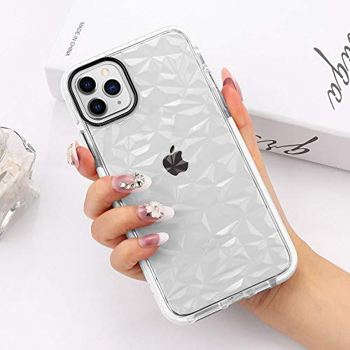 LCHULLE Clear Case iPhone 11 Cover Super Fashion 3D Diamond Pattern Soft TPU Case Lovely Back Rubber Shell Transparent Crystal Protective Girly Bumper Cases Covers White