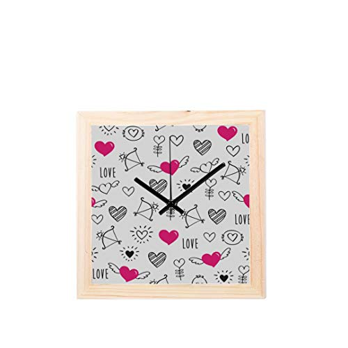 Reloj de oficina Para Mujeres Encantador Kawaii Flecha Particluar Sin tictac Cuadrado Silencioso Pantalla de Diamante de Madera Relojes de Pared Pintura Dial Cocina Dormitorio Decoración Relojes de P