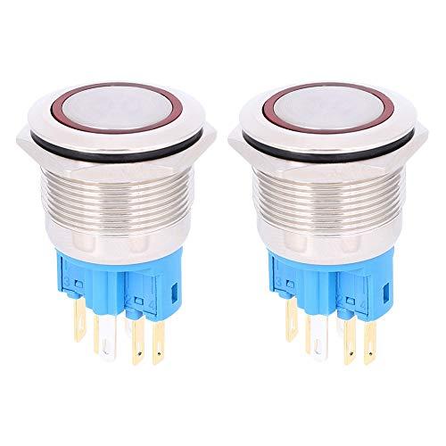 Interruptor de botón de 2 piezas, anillo de montaje de 22 mm, interruptor de botón de anillo de bloqueo automático de 6 pines, nivel de protección IP65(rojo)
