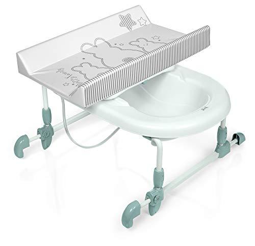 Brevi 594-667 Bagnotime Table à langer adaptable sur baignoire adulte Lapinou Perle