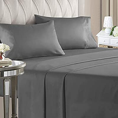 ILAVANDE Queen Bed Sheets Set Hotel Luxury Bed Sheets Set-1800 Series Platinum Collection Grey Bed Sheets Queen Set Wrinkle Free and Hypoallergenic-4 Piece Queen Sheet Set(Queen,Grey)