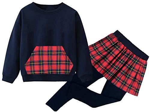 Kinder Kleidung Set Lange Hülse Tops Mädchen Warm Hoodie T-Shirt Top + Rock Hose Outfits mit Herzform 98 104 110 116 122 (3#Dunkelblau-Gitter, 122)