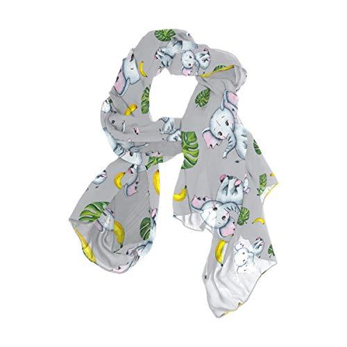Rootti - Bufanda para mujer, diseño de elefante, hojas de bebé, chal de gasa de lujo, elegante, suave, de poliéster transparente, tamaño grande para niñas y mujeres