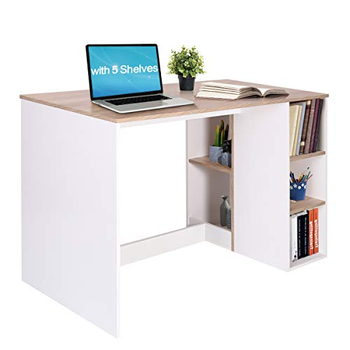 Office Computer Desk 47.2 Inch ps5 Gaming Desk with Drawers Kids Study Writing Desk Organizers with 5 Shelves Students Laptop Table Home Wood Workspace Conference Room Tables, Oak White