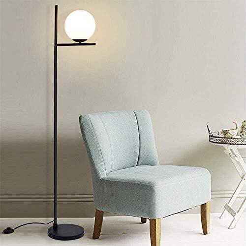 Depuley - Lámpara de pie de metal negro con esfera de cristal mate, diseño moderno y escandinavo para dormitorio, casquillo E27 y alto de 153 cm, 9 W, incluye bombilla LED