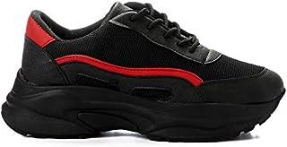 أحذية رياضية نسائية من Grinta مصنوعة من القماش والجلد الصناعي محاكة بألوان متباينة وكعب مكتنز