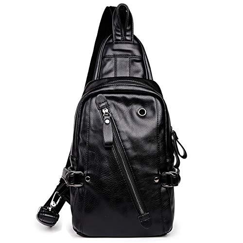 PU Cuero Hombre Sling Bag Cofre Hombro Mochila Cruz Paquete de Cuerpo Vintage Resistente al Agua para Viajes Senderismo Escuela de Trabajo Ciclismo