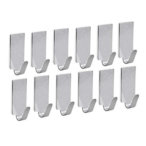 HYY-YY Paquete de 12 ganchos para colgar en la pared de acero inoxidable, ganchos adhesivos para toallas de pared