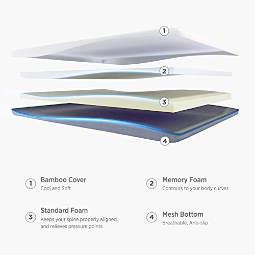 Bedsure 4 Inch Memory Foam Mattress Topper King S-Curve Ergonomic High Density Bed Topper for Pressure Relieving with Breathable Removable Bamboo Cover