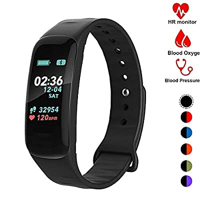 Fitness Tracker,Activity Tracker Watch with Heart Rate Blood Pressure Blood Oxygen Monitor,Waterproof Smart Fitness Band with Step Counter,Calorie Counter,Sleep Monitor for Kids Women and Men