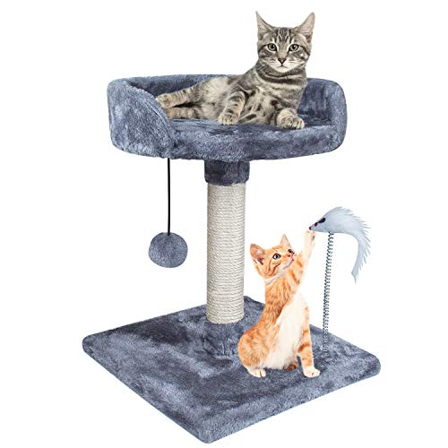 XJD Cat Tree Tower Cat Furniture Scratching Post Climber House Cat Play Tower Activity Center for BABY LITTLE CAT KITTEN (Grey, B)