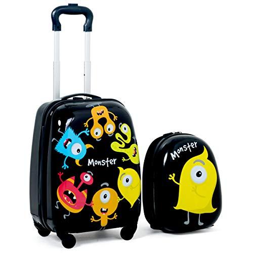 CASART. 2 PCS Kids Luggage Set 12''+ 16'' ABS Children Backpack Suitcase Trolley Bag Travel School (Color 1)