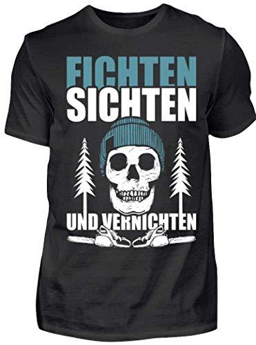 HOLZBRÜDER® Fichten sichten und vernichten T-Shirt für die Arbeit mit der Kettensäge im Wald (M, Schwarz)