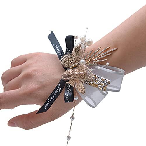 Egurs Corpiño para mujer, boda, fiesta, baile de graduación, con flores y mariposa y perlas de vino tinto