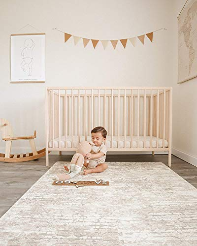 Famokids Baby Play Mat, Tummy Time Mat- Large - 6' x 8' Designer Expandable Interlocking Soft Floor Tiles - Non-Toxic, EVA Foam, Activity Mat for Infants and Toddlers - Amber (Brown)