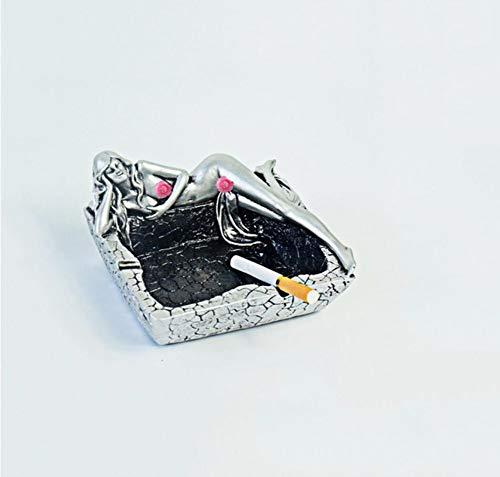 Preisvergleich Produktbild WLQ Sexy Schönheit Persönlichkeit stilvollen Aschenbecher,  kreativ Wohnzimmer Studie Dekoration,  Hochtemperaturbeständiges Aschenbecher (Farbe : Silber)