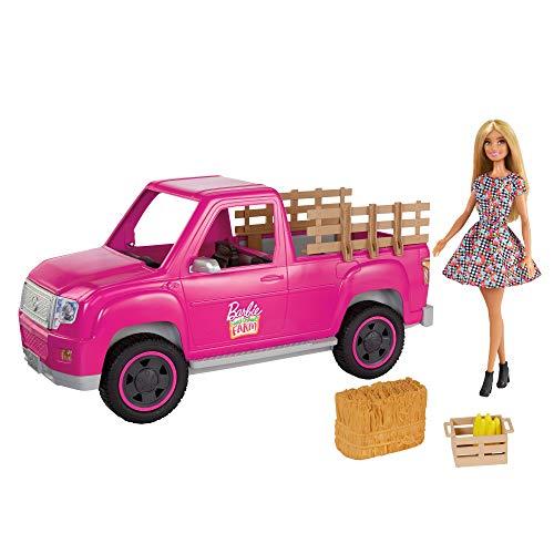 Barbie con Coche Pick-up para la Granja Muñeca Rubia con vehículo de Juguete y Accesorios para el Campo (Mattel GWW29)