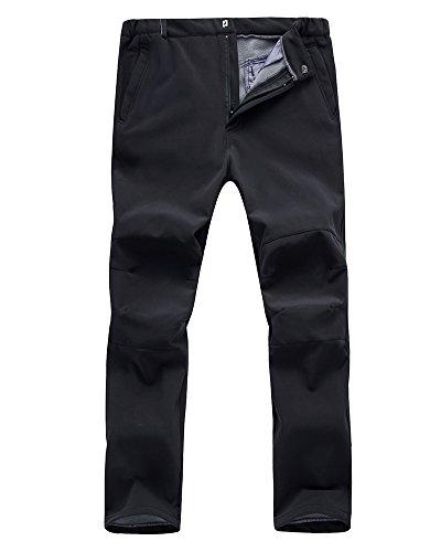 Men's Outdoor Windproof Waterproof Hiking Mountain Ski Pants, Soft Shell Fleece Lined Trousers#NK-801,Black,US XL 38