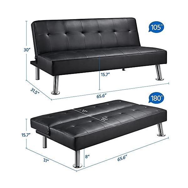 Kovalenthor Convertible Black Faux Leather Futon Sofa Bed 3
