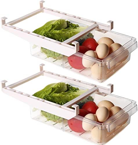 Shopwithgreen 2 Pack Refrigerator Organizer Bins with Handle, Pull-out Fridge Drawer Organizer,...