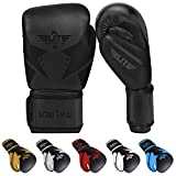 Elite Sports 2020 Muay Thai Gloves, Men's, Women's Best Kickboxing Pair of Breathable Gloves (Black, 10 oz)