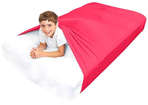 Special Supplies Sensory Bed Sheet for Kids Compression Alternative to Weighted Blankets - Breathable, Stretchy - Cool, Comfortable Sleeping Bedding (Red, Twin)
