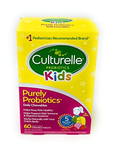 Culturelle Kids Chewable Daily Probiotic for Kids | Natural Berry Flavor Daily Supplement | 60 Count | Age 3+ | 100% Naturally Sourced Lactobacillus GG –The Most Clinically Studied Probiotic