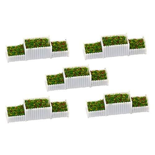 sharprepublic 5X 1/200 Puppenhaus Garten Deko Miniatur Blumenkorb Blumenkasten Modell