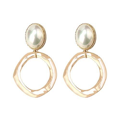 Pendientes Colgantes Zirconia cúbica Plata de ley 925,2 pares de agujas de orejas de perlas marinas, oreja redonda geométrica de metal, larga depuración de zircon sin pendientes de níquel-Oro + plata