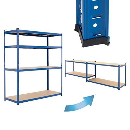 ECD Germany Estantería de taller 180x160x60 cm Azul Galvanizada Estante Industrial Resistente Garaje Almacenamiento de 4 Baldas MDF Capacidad carga 280kg Banco Metálico sin Tornillos Altura Ajustable